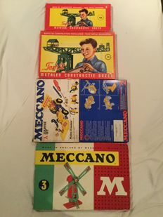 Meccano / Temsi - 3 x Construction Kit 1960s - 2 Meccano construction sets from the 1970s and 80s, including construction examples - 2 Temsi construction boxes from the 1960s