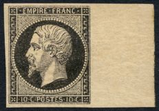 France 1853 - essais Napoleon, 10c, black on yellow - Yvert no. 13A