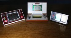 2x Game and watch and 1 Bandai - Donkey kong 2, Mario's cement factory and Tsuppari karasu