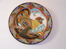 Plateelbakkerij Zuid-Holland - Wall plate with rooster motif by Plazuid Gouda