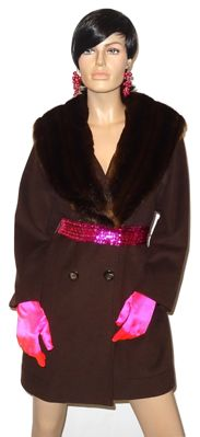 Laurel - Stunning timeless coat with genuine fur collar that can be removed