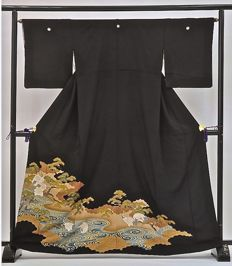 "Sik tomesode kimono - hand-painted - ""Cranes near blue pond"" - Japan - mid 20th century"