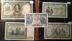 Spain - 25, 50, 100, 500 and 1,000 Pesetas 1940 series