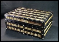 Porcupine Quill, Ebony & Hardwood Trinket Box - Sri Lanka - end 19th century