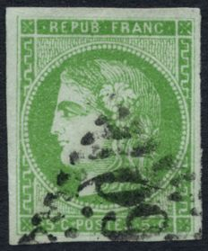 France 1870 - Cérès Bordeaux, 5c green-yellow - Yvert no. 42B