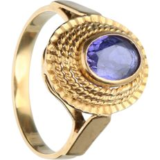 14 kt - Yellow gold ring set with sapphire - Ring size: 17.75 mm