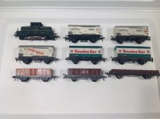 Fleischmann H0 - Shunting locomotive and 8 various tinplate  and metal wagons