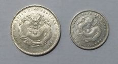 China, Kwangtung - 10 Cents 1898-1908 + 20 Cents 1898-1908 'Dragon' (2 pieces) - silver