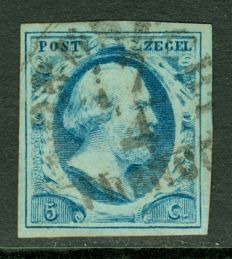 The Netherlands 1852 - King Willem III - NVPH 1 with semi-circular cancellation Dordrecht A