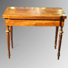 Console / game table in rosewood - Napoleon III - France, ca. 1880