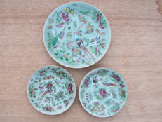 Lot of 3 celadon plates  decorated with birds, butterflies and animals  China  19th century