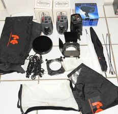3 Falcon Eyes studio flash units with lots of accessories, see photos for further information