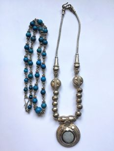 Two silver ethnic necklaces