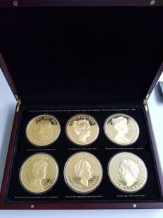 The Netherlands - Six medals of Wilhelmina - gold plated in super crown size format, 450 grams