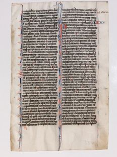 Manuscript; Illuminated handwritten page from a Medieval Bible - anno 1250