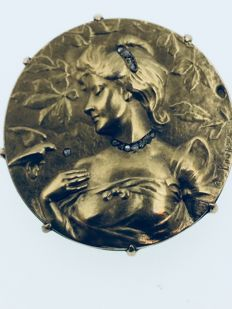 750 GOLD Art Nouveau brooch signed Dropsy