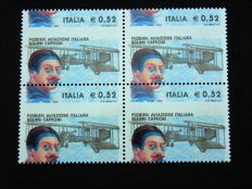 Italy, Republic 2003 - Gianni Caproni 0.52 variation (colours out of register and horizontal perforation markedly shifted vertically)