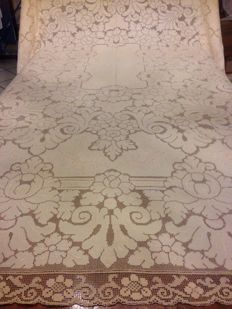 Royal linen tablecloth, entirely hand-decorated and completely embroidered in Louis XV style