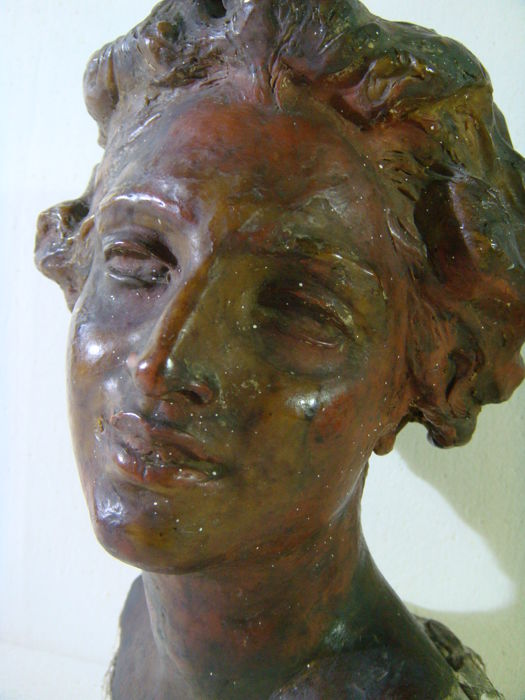 Attributed to Vincenzo Gemito (1852-1929) - Head of a woman - plaster and wax sculpture - early 20th century