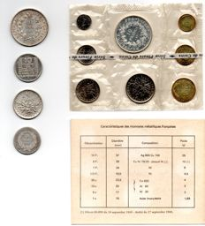 France – Lot of 12 coins (1973 series + 4 silver) 1871/1973