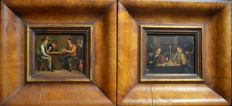 Flemish school (19th century) - A pair of interior scenes with figures