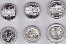 Austria 5 Euro 2004, 2005 and 2006 + 10 Euro 2002, 2003 and 2006 (total 6 items) - silver