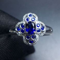 0.65 Carat Sapphire Ring In 18K Solid White Gold Diamond Ring Size: 7.2 ; Free Shipping