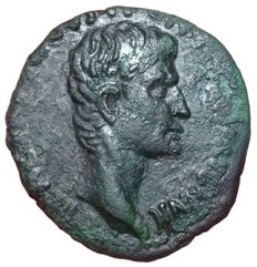 "Roman Empire -  Augustus (43 BC-17 AD) - Æ As (Copper; 26/24,5mm; 7,14g.), ""Triumphal Coinage"" issue, P. Lurius Agrippa, moneyer, Rome  struck 7 BC - Head /S C - RIC I, 427; C. 445; BMC 211"