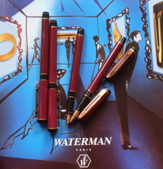 Four very beautiful Waterman fountain pens Red Classic tabby