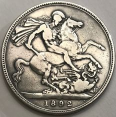 United Kingdom - Crown 1892 Victoria - silver
