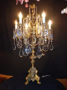 Large stately table chandelier - bronze / copper / crystal - Belgium - circa 1950