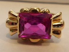 18 kt yellow gold ring from the Art Deco period with pink tourmaline - 2.5 ct