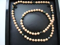 Vintage (1950s) Chinese Export to USA - Oriental beaded Necklace with Imperial Jasper, Cloisonne and 14K Gold filled beads
