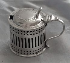 Victorian sterling silver pierced and engraved mustard pot, Atkin Brothers, Sheffield 1900