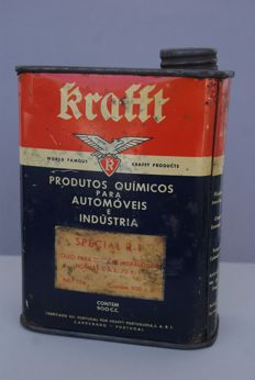 rare vintage oil tin can KRAFFT automobile products  1/4 gallon - 900cc