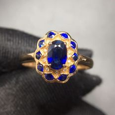 0.9 Carat Sapphire Ring In 18K Solid Gold Diamond Ring Size: 6.75 ; Free Shipping