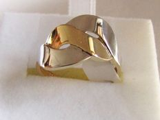 Ring in two-tone 18 kt gold - 2.5 grams - size 16