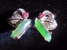 Natural Imperial Jadeite and Rubies pin sliver earrings , incl. HK gemological certificate.