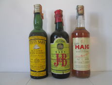 3 bottles - Scotland Scotch Whisky - John Haig fine old (1990s), J&B Rare (1960s) & Cutty Sark Blended (1970s)