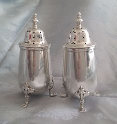 Pair of sterling silver salt & pepper pots, E S Barnsley & Co (Edward Souter Barnsley), Birmingham 1920