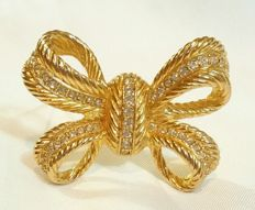 Vintage Christian DIOR Costume Jewelry Gold Tone Rhinestone BOW/Ribbon BROOCH/Pin
