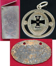 Lot of 3 German military items Prussia Match box relic Iron Cross 1813 1870, patriotic pendant, dog tag WWI Erkennungsmarke