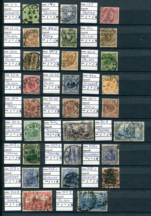 Postal stamps from the German Empire/Reich including inflation postal stamps and service postal stamps