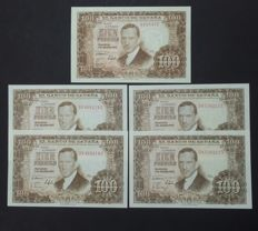 Spain - 5 x 100 pesetas from 1953 - 1 x NO SERIES, correlative pair and pair of odd numbers - Pick 147