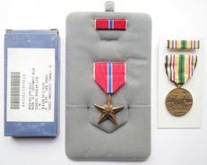 Amerikaanse Bronze Star + Southwest Asia Service medailles met batons - Complete sets!