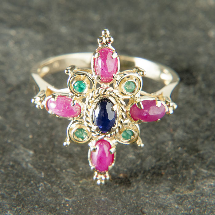 14K Cocktail Ruby Emerald Sapphire Ring c. 2CT Total RS 60 : US: 9,5 :19,3 mm∅