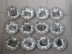 Boch, La Louvière - series of twelve Napoleon plates -Belgium pottery - Napoleon and his great battles