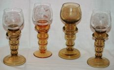 Moser Theresienthal style - 4 rummer glasses - Germany - c. 1900