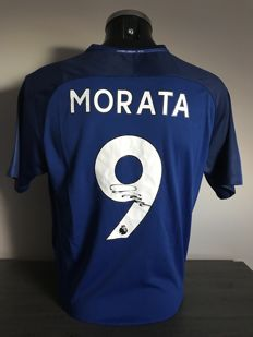 Alvaro Morata signed Chelsea Fc home shirt with 2017-2018 with photo of the signing time and COA