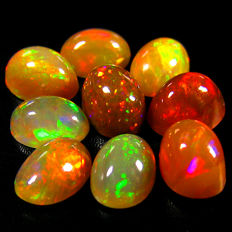 Lot of Rainbow Flash  Ethiopian opal - 5.81 Ct (9)